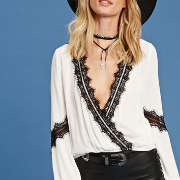 Lace-Trim Surplice Top