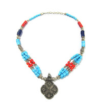 Mogulinterior Vintage Tribal Jewelry Turquoise coral German Silver Necklace Pendant