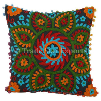 Embroidered Decorative Throw Pillows, Outdoor Cushion Cover, Pom Pom Pillow Cover 16x16, Living Room Decor, Cotton Pillowcases