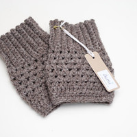 Crochet Boot Cuffs in Soft Brown Boot Toppers by LumiStyle