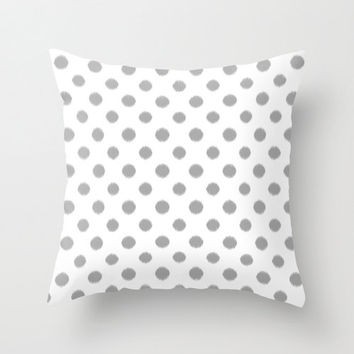 Velveteen Pillow - Polka Dot Throw Pillow - Light Grey - Ikat - Fashion Pillow - Accent Pillow - Grey Decorative Pillow