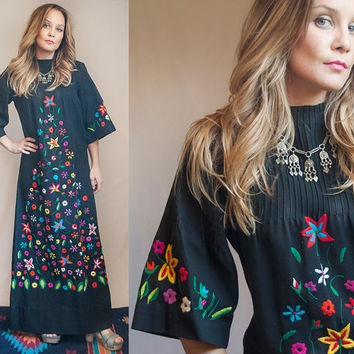 70s Mexican Embroidered Maxi Dress Size Small XS | Womens Oaxacan Bell Sleeve Long Black Dress | Boho Chic Maxi with Angel Sleeves 1960s XS