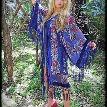 long silk fringe kimono in deep blue floral / sheer velvet jacket with ombre devore roses in dusty pink and red