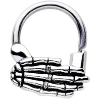 14 Gauge Stainless Steel Spooky Skeleton Hand Septum Clicker | Body Candy Body Jewelry