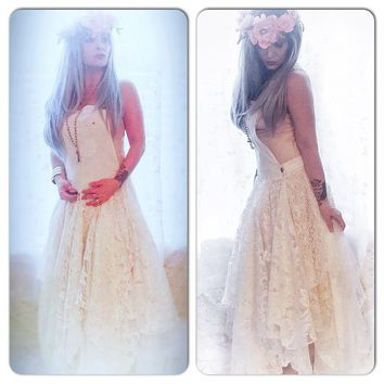 Boho White lace Maxi Dress, How to dress Country crochet Maxi Dress, True rebel clothing