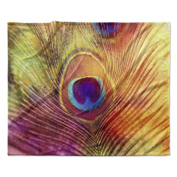 "Sylvia Cook ""Peacock Feather"" Fleece Throw Blanket"