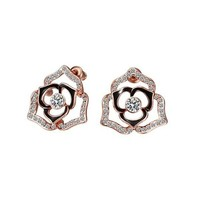 MLOVES Women's Classical Delicate Diamanted Rose Flower Ear Cuffs