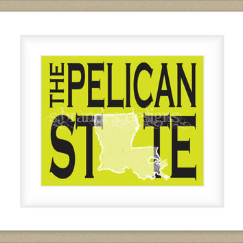 8x10 Louisiana Print, The Pelican State Map Art Custom Colors Typography