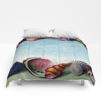 Vintage Shell postcard Comforters by Vesoterica