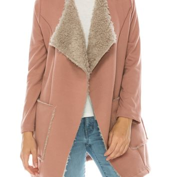 faux fur draped front jacket with knit sleeves (5 colors)