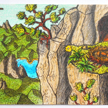Original art aceo drawing, original aceo artwork, 'Kiting high above' , bird nest in the mountain aceo