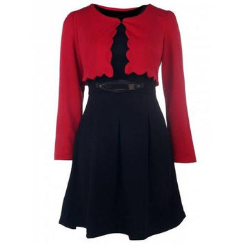Graceful Scoop Collar Long Sleeve Solid Color Blazer + Faux Belt Embellished Dress Women's Twinset