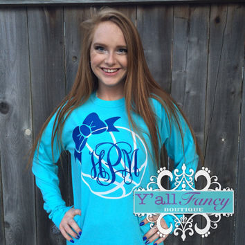 Long Sleeve Glitter Monogrammed BASKETBALL Comfort Colors Tee - Y'all Fancy