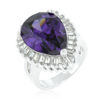 Lorna Amethyst Pear Statement Cocktail Ring | 12ct | Cubic Zirconia | Silver