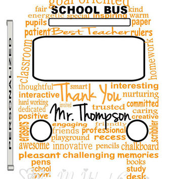 Personalized Teacher Gift Art, School Bus Word Art, Unique Handmade Word Art Typography, PRINTABLE DIGITAL FILE