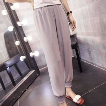 Plus Size chiffon Harem Pants Solid Loose Casual High Waist Ankle Length Women Thin Beam Trousers
