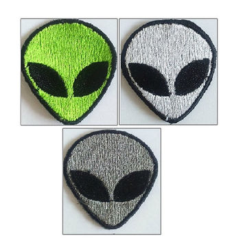 Retro Alien Patch, Embroidered Alien, Iron on Alien or Sew on Alien, Green, White Or Gray.