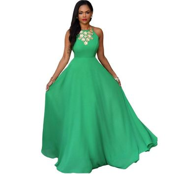 Green Sleeveless Hollow Out Stylish Ball Gown Prom Dress [6514310535]