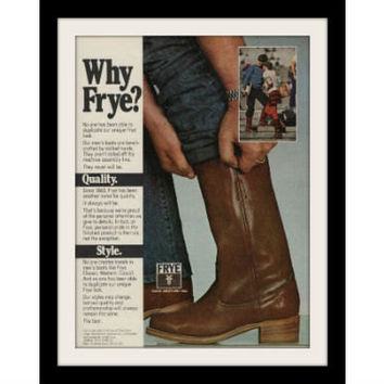 1980 Frye Men's Leather Boots Ad, Vintage Advertisement Print