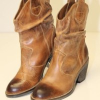 ALDO *NEW* Womens 37 6.5 Brown Distressed Leather Cowboy Western Ankle Boots /^