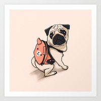 Pug Back to School Art Print by lostanaw