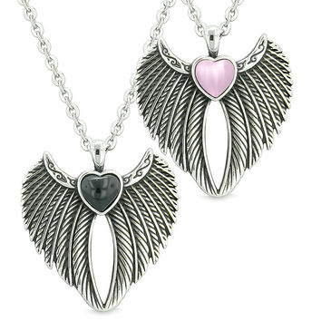 Angel Wings Magic Hearts Love Couples or Best Friends Simulated Onyx Pink Simulated Cats Eye Necklaces