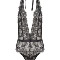 Black Lace Open Back Playsuit | L'Agent | Avenue32