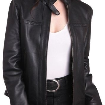Womens Classic Black Straight Trendy Leather Jacket