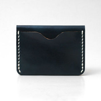 Personalized Leather Business Card Holder, Minimal Bi-fold Wallet, 3 Slots, Handmade Hand-stitched, Dark Teal Blue
