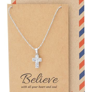 Lea Religious Gifts Cross Necklace with Inspirational Quote, Christian Gift