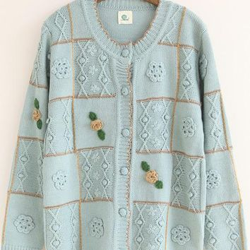 Blue Grey Plaid Appliques Sweet Cardigan