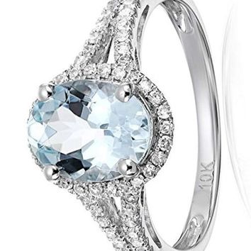 CERTIFIED 1/5cttw 10k Engagement Ring with Oval Stone featuring Diamond Halo Ring