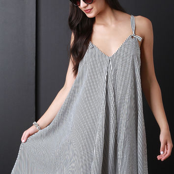 Stripe Sleeveless Swing Dress