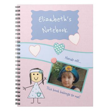 Kids Pink Photo Spiral Notebook