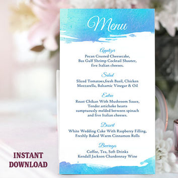 Printable Wedding Menu Template DIY Menu Card Template Watercolor Menu Blue Menu Beach Wedding Menu Printable Table Sign Instant Download