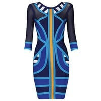Stripe Spell Color Long Sleeve Bandage Dress H549