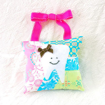 Girls Tooth Fairy Pillow in Pink Green and by BoutiqueVintage72