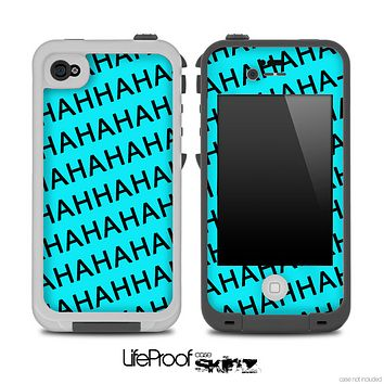 Aqua Blue HAHA Pattern Skin for the iPhone 5 or 4/4s LifeProof Case