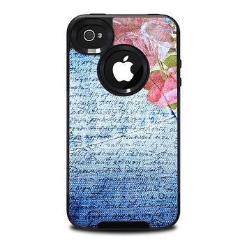 The Vintage Denim & Pink Floral Skin for the iPhone 4-4s OtterBox Commuter Case