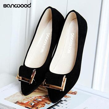 New Arrivals Women's Fashion Casual Flat Slip-on Shoes Metal Decor Elegant Pointed Toe Shoes