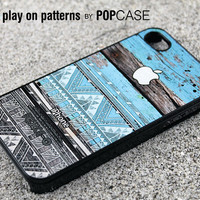 iPhone 4s case iPhone 4 case iPhone 4s cover iPhone 4 cover iPhone 4s skin iPhone 4 skin geometric pattern on blue wood print