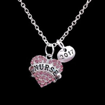 Pink Nurse 2017 Class Of 2017 Graduation Gift Charm Necklace