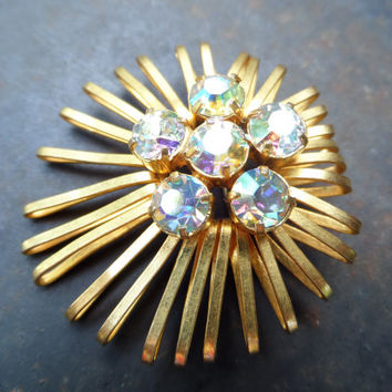 Vintage Brooch 60s, Antique Czech/German Brooch,Vintage Rhinestones Brooch,Brooch West Germany,Glass Rhinestone Brooch