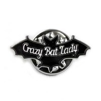 Mysticum Luna Crazy Bat Lady Pin Badge | Attitude Clothing