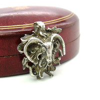 Sterling Silver Ram's Head Pendant.  Curly Long Hair Sheep. Curved Horns. 3D Dimensional Openwork. Vintage Artisan Signed Aries Jewelry