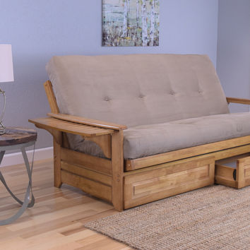 Rosemount Full Size Sofa Futon and Drawer Set, Honey Oak Wood Frame and Suede Innerspring Mattress, Peat