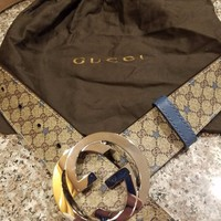 Mens Gucci Monogram Blue Stars Edition Interlocking GG 100% Authentic 90/36