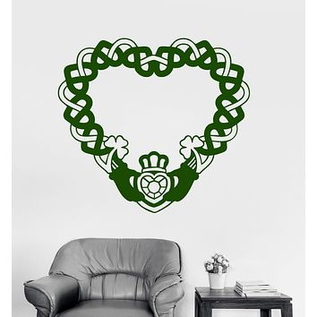 Vinyl Wall Decal Claddagh Ring Irish Symbol Love Friendship Ireland Stickers Unique Gift (1821ig)