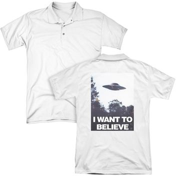 X Files - Believe Poster (Back Print) Mens Regular Fit Polo