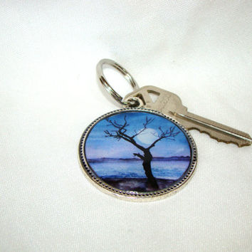 Full moon resin and silver colored round metal keychain key ring key fob pendant featuring a reproduction of my watercolor painting